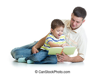 papa, garçon, sien, lire, livre, enfant