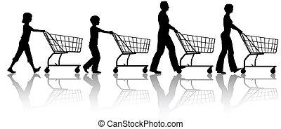 papa, gosses, achats, famille, charrettes, ensemble, maman, poussée