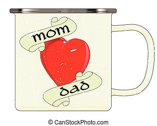 papa, grande tasse, maman, émail