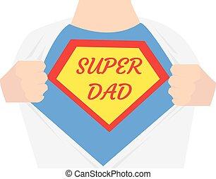 papa, héros, shirt., ouvert, super, homme