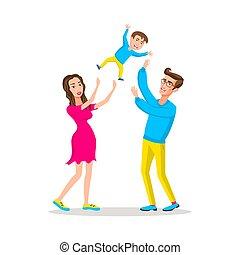 papa, haut, famille, threw, père, peu, air., haut, leur, parents, child., maman, fils bébé, élévation, heureux