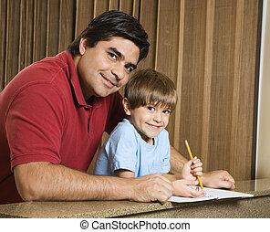 papa, homework., fils