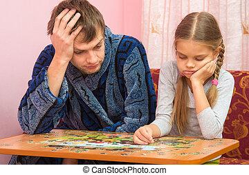 papa, image, fille, elle, fatigué, puzzles, suivant, collects, séance, mon, dit