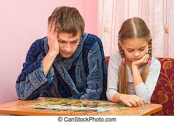 papa, image, fille, fatigué, puzzles, suivant, collects, séance, mon
