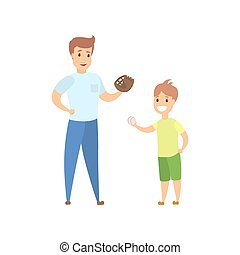papa, jeu, base-ball, fils
