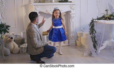 papa, jeu, elle, peu, thème, girl, noël