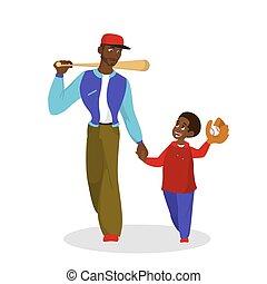 papa, jeu, père, chauve-souris, marche, fils, baseball.