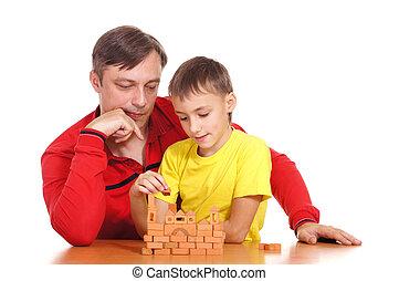 papa, jouer, fils