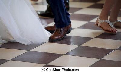 papa, jour mariage, elle, danse