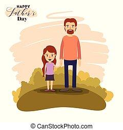 papa, kleurrijke, vaders, daugther, landscape, holdingshanden, dag, kaart