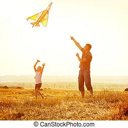 papa, laisser, sien, fille, cerf volant