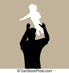 papa, lancer, enfant