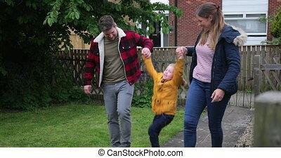 papa, maman, marche, maison