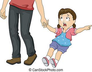 papa, meisje, het trekken