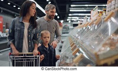 papa, mignon, récipients, achats, famille, pointage, gens,...