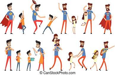 papa, occupé, sien, héros, ensemble, beaucoup, père, vecteur, fond, illustrations, fille, blanc, travaux, super