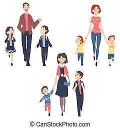 papa, parents, gosses, dehors, ensemble, illustration, enfants, vecteur, matin, ou, jardin enfants, dessin animé, style, prendre, école, leur, marche, maman