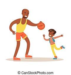 papa, payant, basket-ball, fils, père, apprécier, bon, gosse, temps, aimer, papa, qualité, heureux
