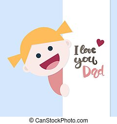 papa, peu, amour, girl, dit, message, vous