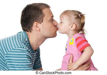papa, peu, elle, donner, baiser, girl