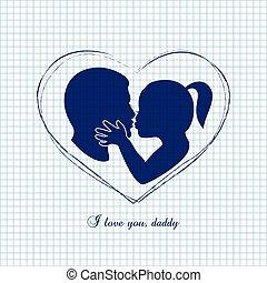 papa, peu, elle, pères, baisers, girl, jour