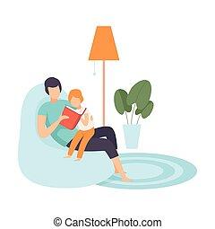 papa, peu, famille, fils, vie, illustration, vecteur, maison, lecture, journalier