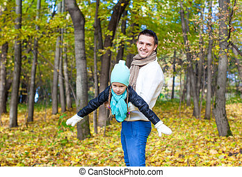 papa, peu, fille, parc, ensoleillé, avoir, automne, amusement, jour, heureux