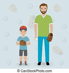 papa, peu, sien, famille, concept., père, jeu, fils, aller, baseball., gosse, jeter, ball., heureux