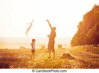 papa, peu, sien, fille, cerf volant, laisser
