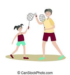 papa, plat, jeu, fille, famille, badminton., isolé, illustration, sports, jointure, vecteur, white., activité, actif, enfants, style, recreation., physique