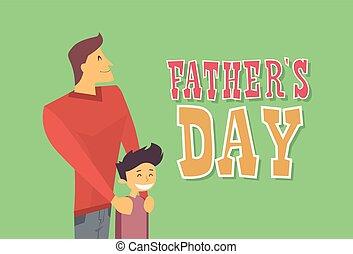 papa, plat, père, fils, vacances, embrasser, jour