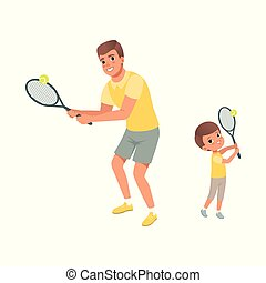 papa, plat, sien, t-shirts., short, habillé, concept., père, tennis., fils, gai, sport., vecteur, conception, paternité, enfant, actif, activity., jouer, physique