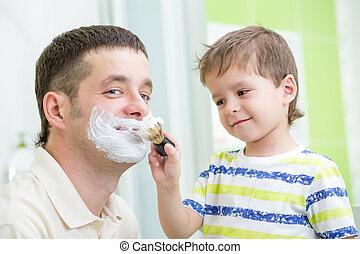 papa, preschooler, sien, rasage, regarder