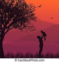 papa, prise, silhouette, moments, haut, air, paternité, fils bébé, heureux