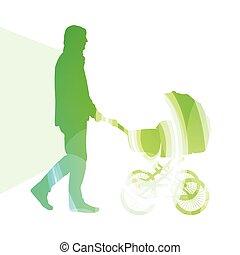 papa, promeneurs, concept, silhouette, coloré, marche, illustration, voiture, fond, bébé, homme