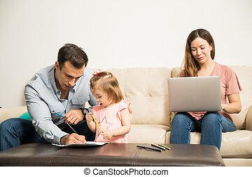 papa, quoique, coloration, maman, travaux