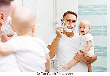 papa, raser, fils bébé
