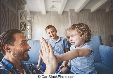 papa, rayonner, donner, haut cinq, enfant