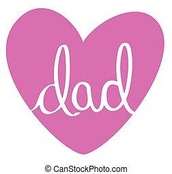 papa, rose, coeur