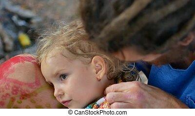 papa, sec, peu, sien, serviette, cheveux, usages, girl, adorable