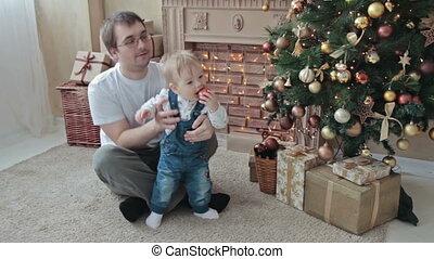 papa, sien, arbre, jouer, fils, noël