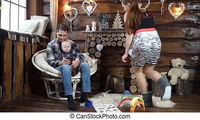 papa, sien, crise, quand, fils, téléphone, ils, jeu mère