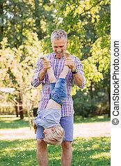 papa, sien, dépenser, parc, jeune, fils, temps