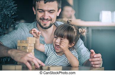 papa, sien, fille, jouer