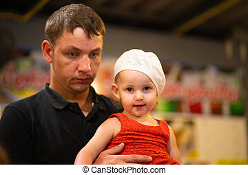 papa, sien, fille, tenue, fatigué, concept., bras, paternité
