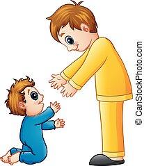 papa, sien, fils, tenant mains, dessin animé