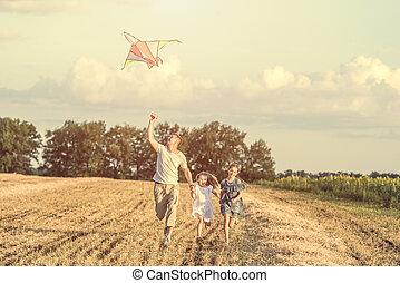 papa, sien, laisser, cerf volant, filles