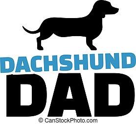 papa, silhouette, chien basset allemand