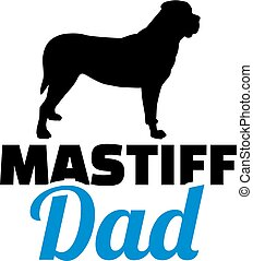 papa, silhouette, mastiff