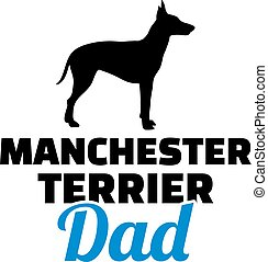 papa, silhouette, terrier, manchester